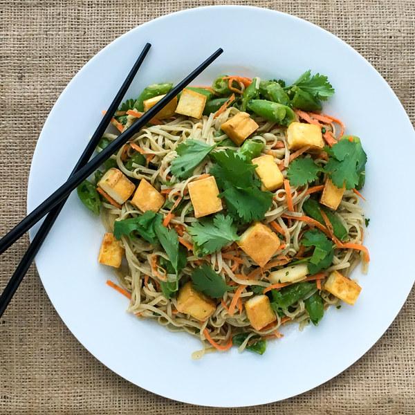 Tangy Peanut Soba Noodle Salad with Crispy Tofu
