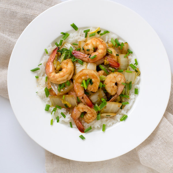 Shrimp & Napa Cabbage Stir-Fry with Jasmine Rice