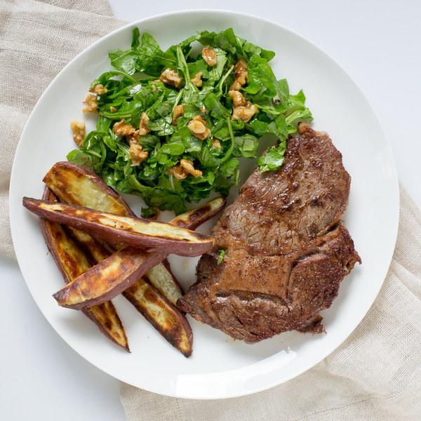Ribeye Steak with Sweet Potato Wedges & Arugula-Walnut Salad