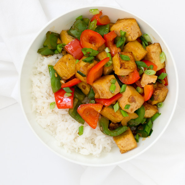 Tofu & Bell Pepper Stir Fry with Jasmine Rice