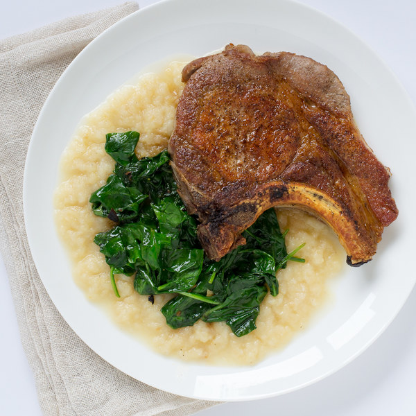 Pan-Fried Pork Chops with Sautéed Spinach & Parsnip-Apple Purée