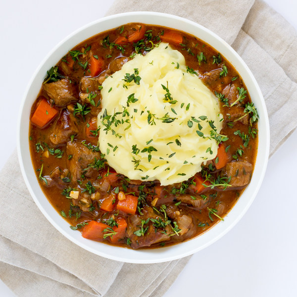 Beef & Carrot Stew with Mashed Potato Topping