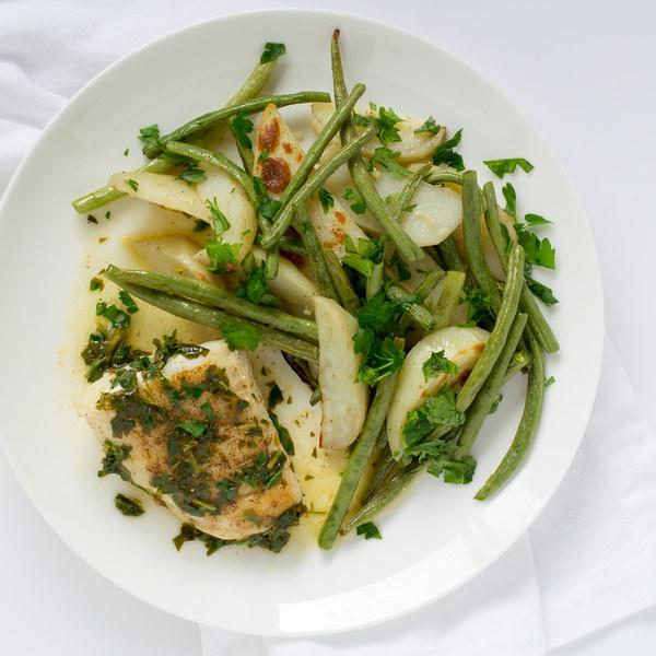 Cod à la Meunière with Roasted Green Beans & Potatoes