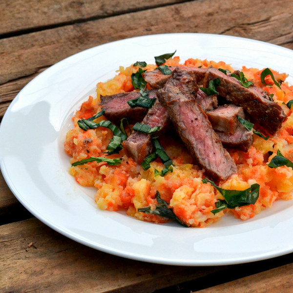 Steak with Mashed Turnip, Potato & Carrot Medley