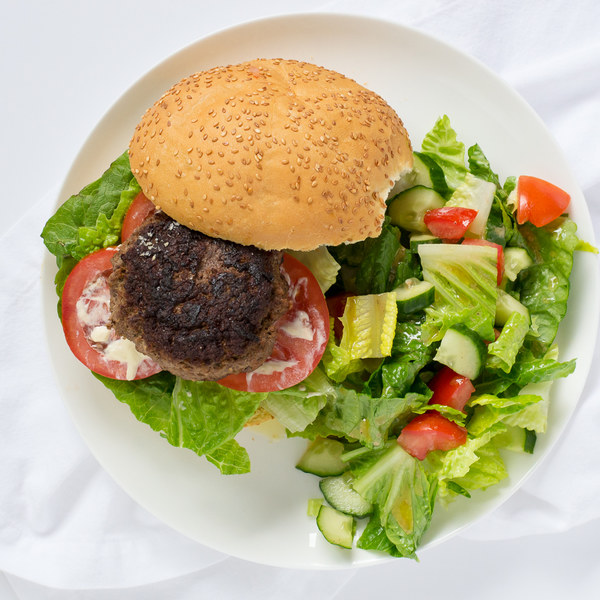 Classic Beef Burger with Chopped Salad