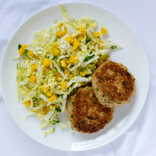 Salmon Cakes with Mango Cabbage Slaw