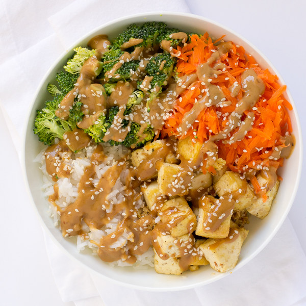 Peanut Tofu Rice Bowl with Carrots & Broccoli