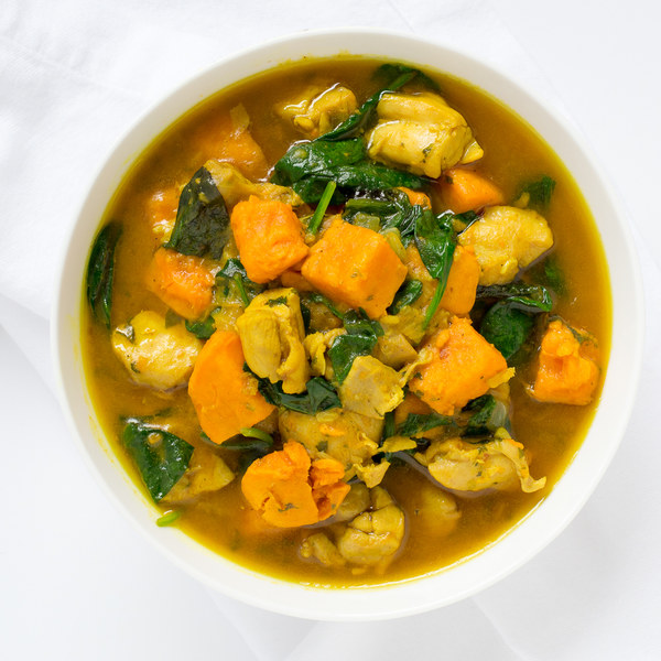 Chicken & Sweet Potato Curry with Coconut Milk & Spinach