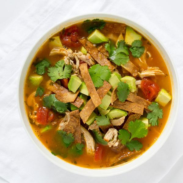 Mexican Chicken Soup with Avocado & Tortilla Crisps