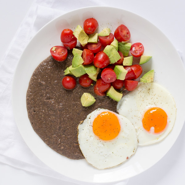Black Bean Purée & Fried Eggs with Avocado & Grape Tomatoes