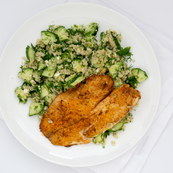 Pan-Fried Tilapia with Quinoa, Cucumber & Feta Salad
