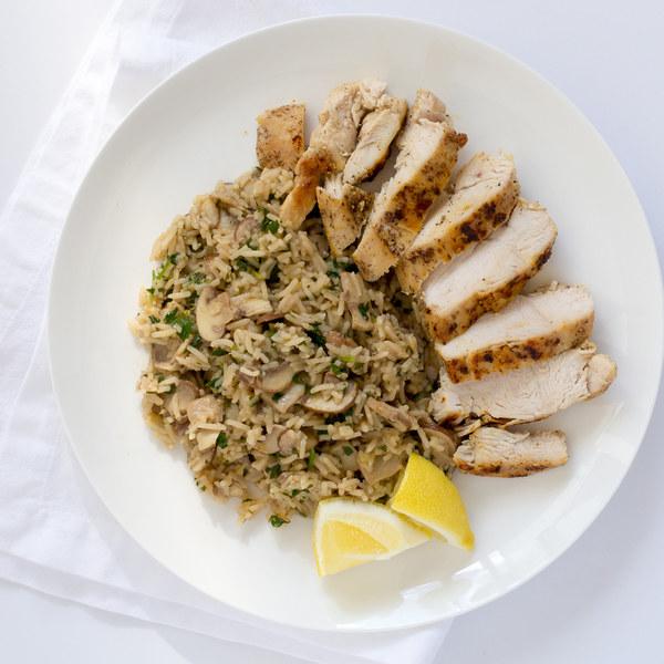 Pan-Fried Chicken Breast with Lemony Mushroom & Herb Rice