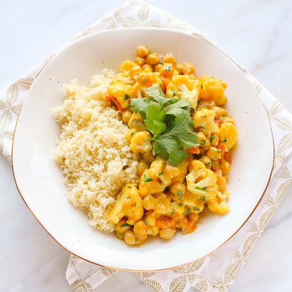 Cauliflower & Chickpea Coconut Curry with Couscous