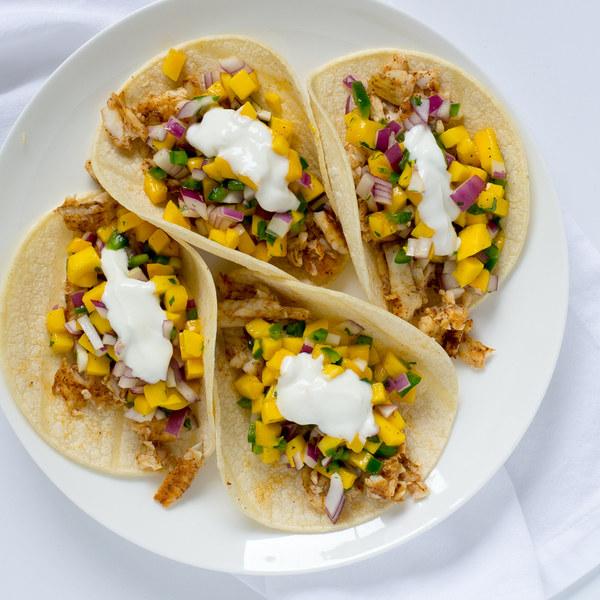 Fish Tacos with Mango-Jalapeño Salsa & Lime Crema