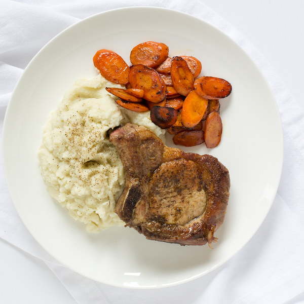 Pan-Fried Pork Chops with Sautéed Carrots & Cauliflower Mash