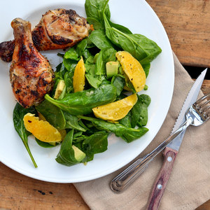Honey Garlic Chicken Drumsticks with Spinach, Avocado & Orange Salad
