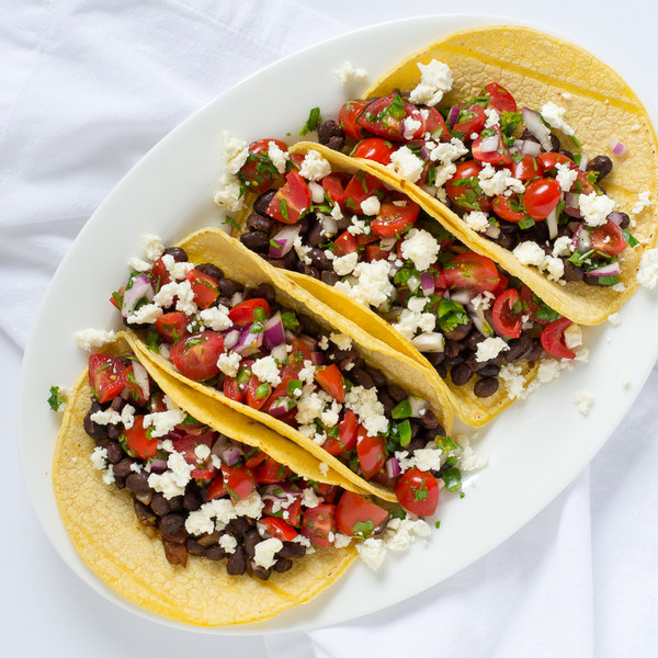 Black Bean Tacos with Pico de Gallo & Feta
