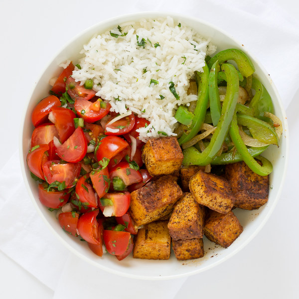 Tofu Burrito Bowl with Cilantro-Lime Rice & Pico de Gallo