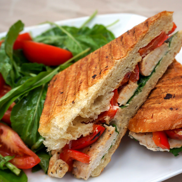Chicken, Bell Pepper & Goat Cheese Panini with Arugula Tomato Salad