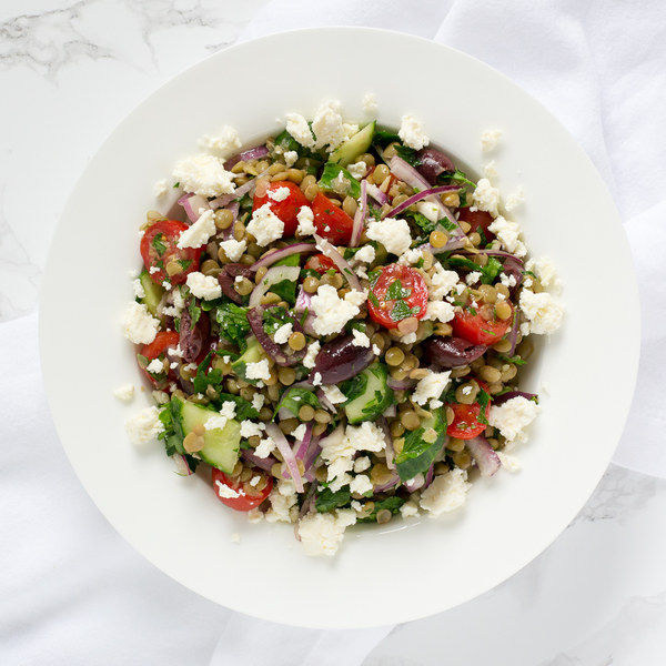 Greek-Style Lentil Salad with Cucumber, Tomatoes, Olives & Feta
