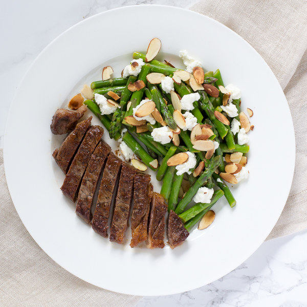 Ribeye Steak with Asparagus, Almond & Goat Cheese Salad