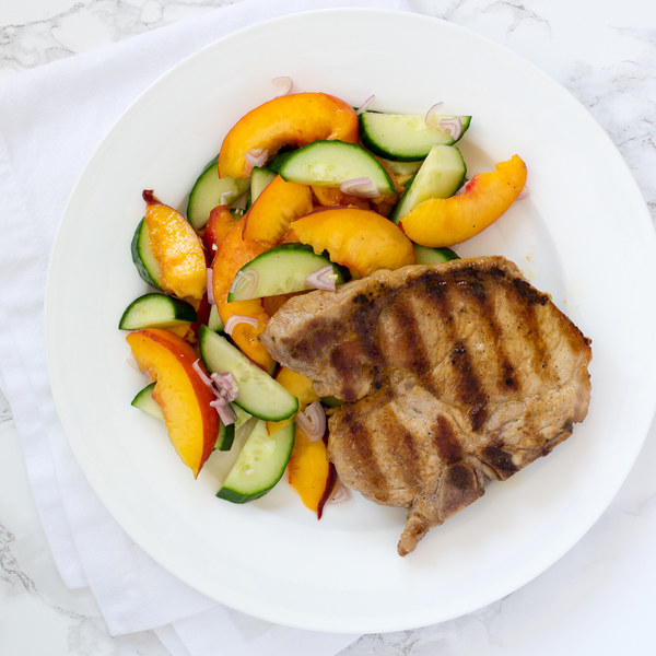 Grilled Pork Chops with Peach-Cucumber Salad