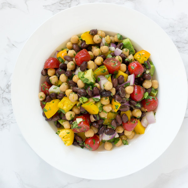 Black Bean, Chickpea & Avocado Salad with Bell Pepper & Tomatoes