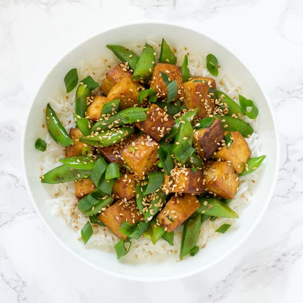 Sesame Tofu & Snap Pea Stir-Fry with Basmati Rice