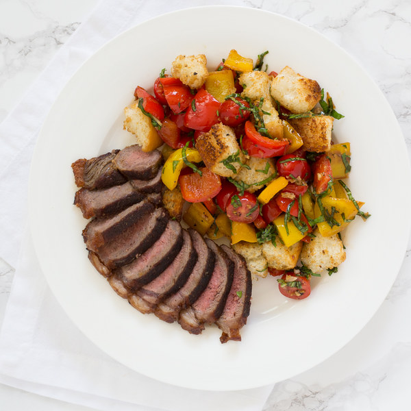 Striploin Steak with Bell Pepper, Tomato & Basil Panzanella Salad