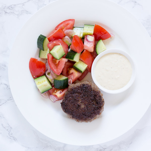 Beef Burger Patties with Garlic Aioli & Tomato-Cucumber Salad