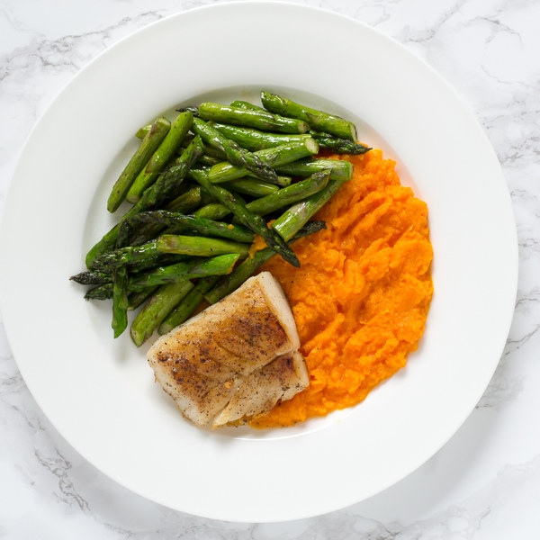 Pan-Fried Cod with Asparagus & Carrot Purée