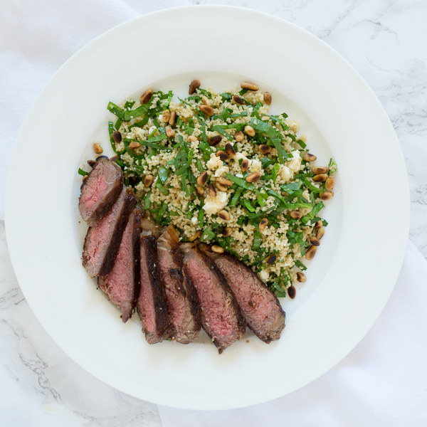 Striploin Steak with Couscous, Spinach & Feta Salad