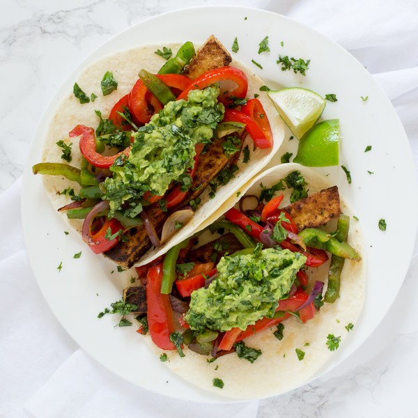 Tofu & Bell Pepper Fajitas with Guacamole