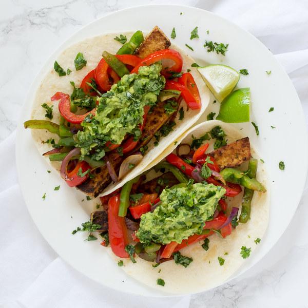 Tofu & Bell Pepper Fajitas with Guacamole