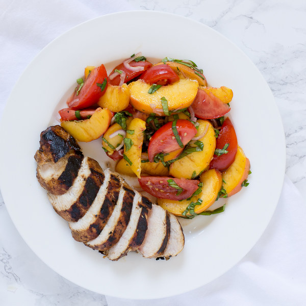 Balsamic Grilled Chicken with Peach, Tomato & Basil Salad