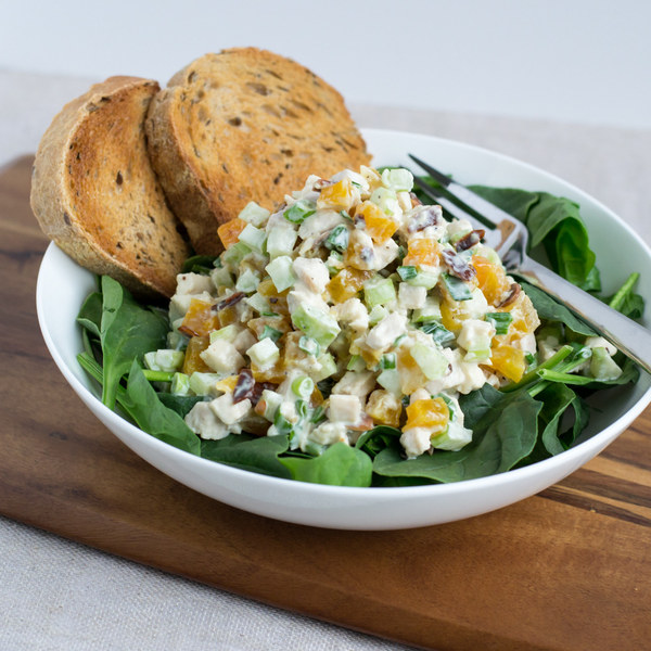 Apricot Chicken Salad with Spinach & Crusty Bread