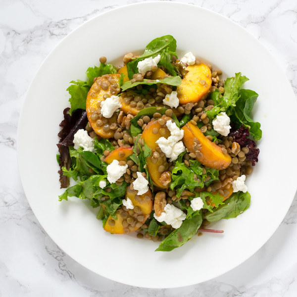Lentil, Peach & Greens Salad with Goat Cheese & Walnuts