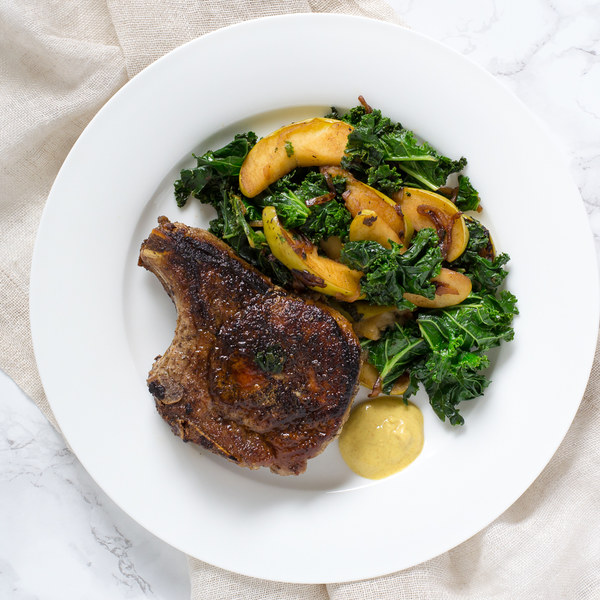 Pan-Fried Pork Chops with Apple & Kale Sauté