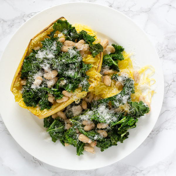 Baked Spaghetti Squash with Kale & Cannellini Bean Sauté