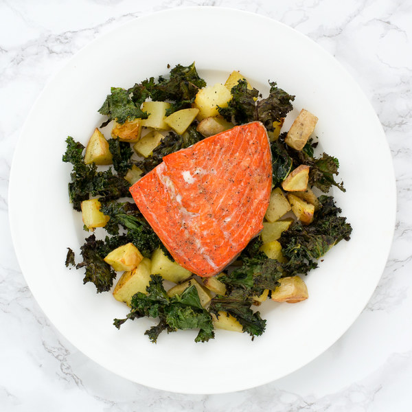 Sheet Pan Salmon with Honey-Dijon Roasted Kale & Potatoes