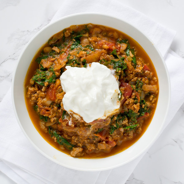 Pumpkin & Turkey Chili with Kale & Cannellini Beans