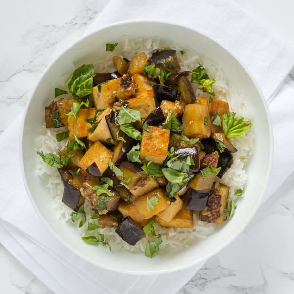Tofu & Eggplant Stir Fry with Basmati Rice