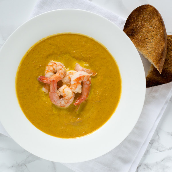 Gingered Pumpkin Bisque with Shrimp