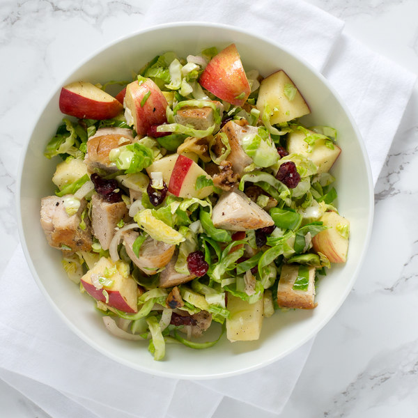 Chicken, Brussels Sprouts & Apple Salad with Toasted Walnuts & Cranberries