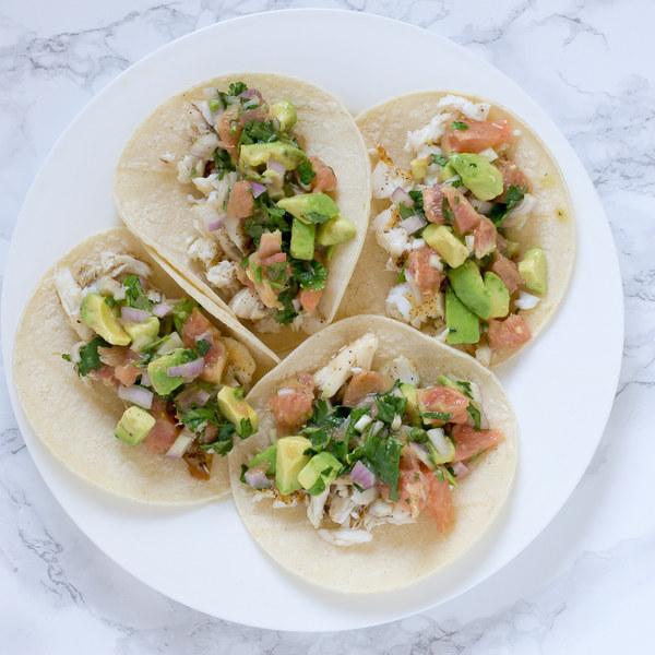 Tilapia Fish Tacos with Grapefruit-Avocado Salsa