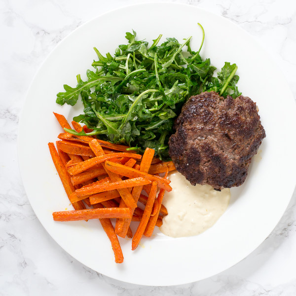 Beef Burger Patties with Garlic Aioli & Roasted Carrot Fries