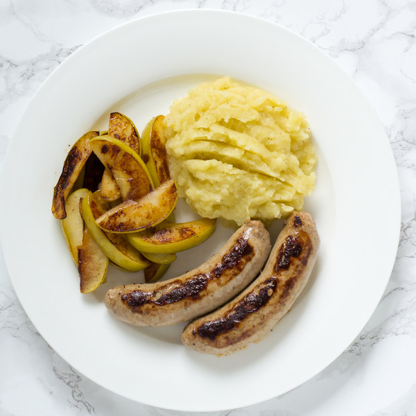 Pork Sausages with Sautéed Apples & Potato Mash