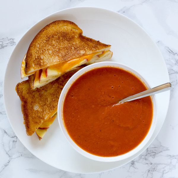 Apple-Cheddar Grilled Cheese Sandwiches with Tomato Soup