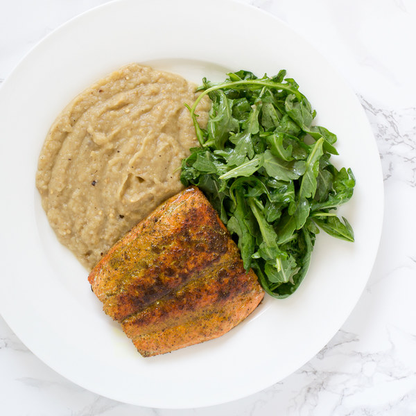 Curried Salmon with Eggplant Puree & Lemony Arugula