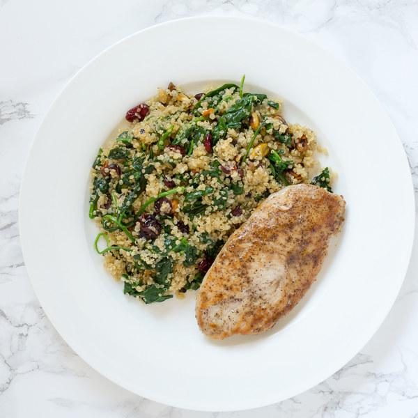 Pan-Seared Chicken with Cranberry & Pistachio Quinoa Salad